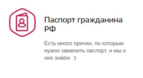 Выбираем раздел «Паспорт гражданина РФ»