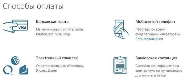 Оплачивать услуги можно через интернет