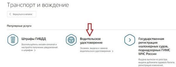 Далее выбираем «Водительское удостоверение»